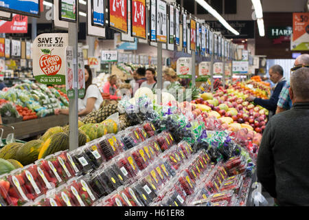 Fruit and vegetables on sale in Harris Farm markets supermarket store shop in Manly beach,Sydney,Australia - Stock Photo