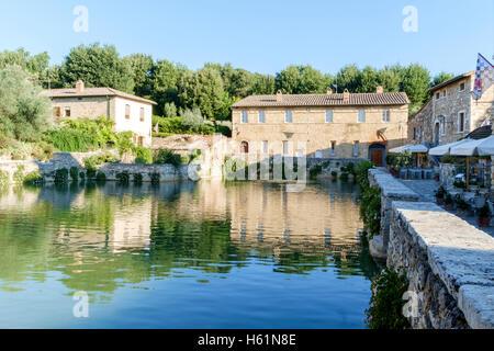 Hot springs, Bagno Vignoni, Val d'Orcia, Tuscany, Italy - Stock Photo