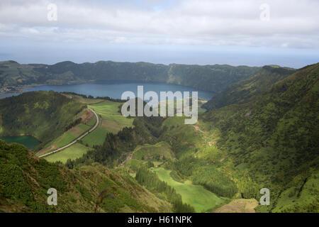Panorama Lagoa das Sete Cidades on the island of Sao Miguel, Azores - Stock Photo