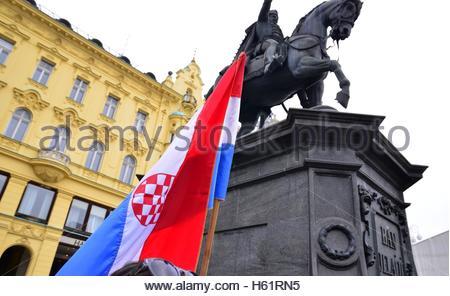 Croatian, flag at Ban Josip Jelacic square, Zagreb,Croatia - Stock Photo