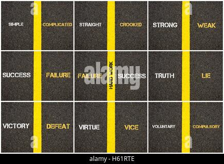 Photo collage of antonym concepts written over tarmac, road marking yellow paint separating line between words - Stock Photo