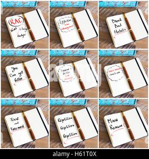 Photo collage of handwritten business motivational message with fountain pen on notebook as business concept image - Stock Photo