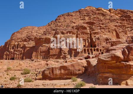 The Royal Tombs in the rock city of Petra, Jordan - Stock Photo
