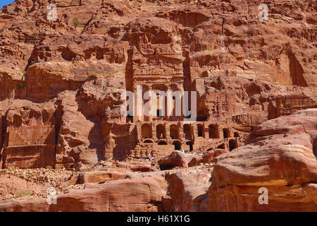 The Urn Tomb of the Royal Tombs in the rock city of Petra, Jordan - Stock Photo