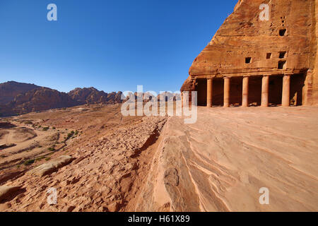 View from the Urn Tomb of the Royal Tombs in the rock city of Petra, Jordan - Stock Photo
