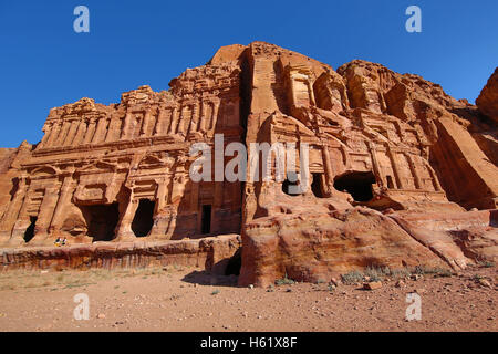 The Corinthian Tomb and the Palace Tomb of the Royal Tombs in the rock city of Petra, Jordan - Stock Photo