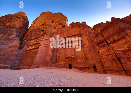 The Street of Facades in the rock city of Petra, Jordan - Stock Photo
