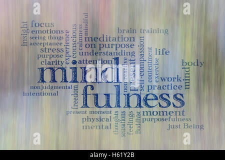 mindfulness word cloud against motion blurred landscape abstract - Stock Photo