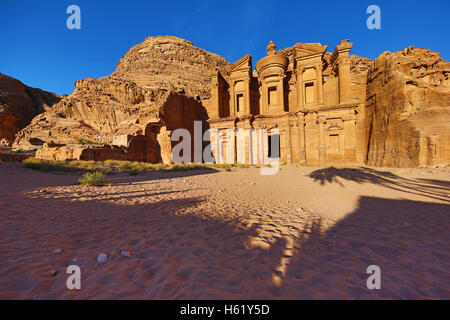 The Monastery, Ad-Deir, in the rock city of Petra, Jordan - Stock Photo