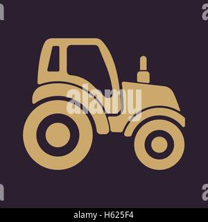 The tractor icon. Agrimotor symbol. Flat - Stock Photo