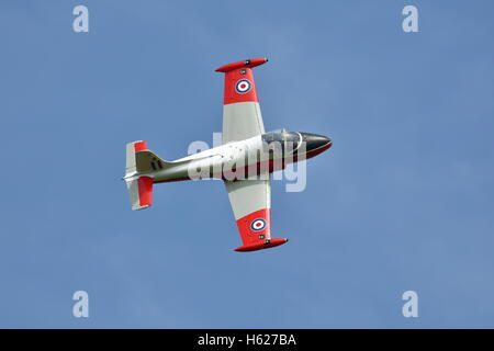 BAC Jet Provost T5A XW324 flying low over Abingdon Airfield, Oxfordshire, UK - Stock Photo