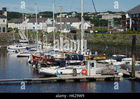 View overlooking the boats Aberystwyth Harbour / Marina facing towards Y Lanfa, Trefechen. - Stock Photo