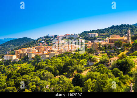 Sartene old town with green forest and mountains, Corsica, France, Europe. - Stock Photo