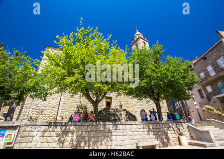 Sainte Maria church in the old city center of Sartene town, Corsica, France, Europe. - Stock Photo