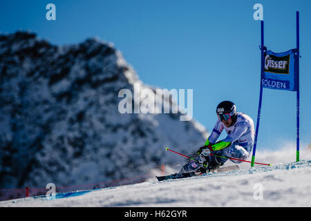 Solden, Austria. 23rd Oct, 2016. Eemeli Pirinen of Finland competes during the first run of the FIS World Cup Men's - Stock Photo