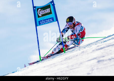 Solden, Austria. 23rd Oct, 2016. Marcel Hirscher of Austria competes during the first run of the FIS World Cup Men's - Stock Photo