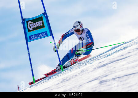 Solden, Austria. 23rd Oct, 2016. Henrik Kristoffersen of Norway competes during the first run of the FIS World Cup - Stock Photo