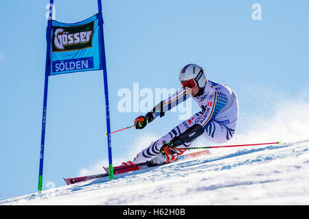 Solden, Austria. 23rd Oct, 2016. Stefan Luitz of Germany competes during the first run of the FIS World Cup Men's - Stock Photo