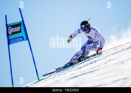 Solden, Austria. 23rd Oct, 2016. Marcus Sandell of Finland competes during the first run of the FIS World Cup Men's - Stock Photo