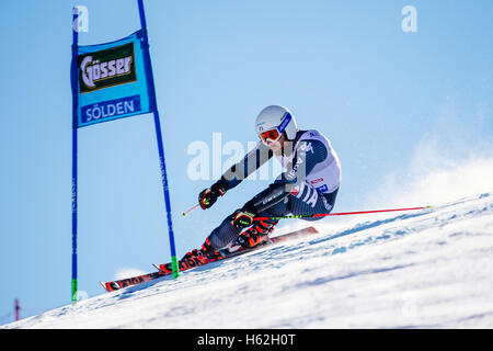 Solden, Austria. 23rd Oct, 2016. Riccardo Tonetti of Italy competes during the first run of the FIS World Cup Men's - Stock Photo