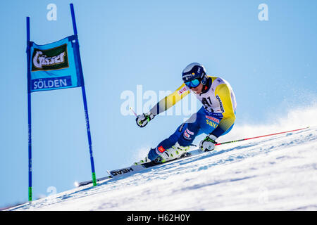 Solden, Austria. 23rd Oct, 2016. Andre Myhrer of Sweden competes during the first run of the FIS World Cup Men's - Stock Photo