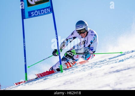 Solden, Austria. 23rd Oct, 2016. Christoph Noesig of Austria competes during the first run of the FIS World Cup - Stock Photo