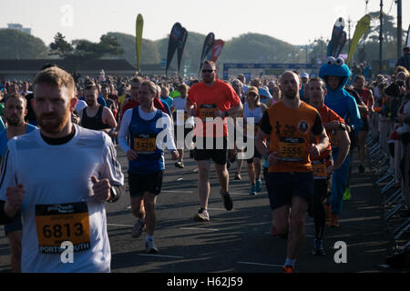 Portsmouth, UK. 23rd October, 2016.  Thousands of runners are taking part in the 2016 Great South Run in the waterfront - Stock Photo