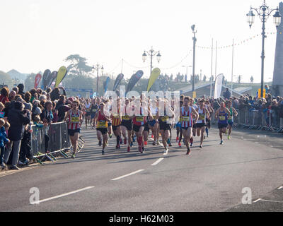 Portsmouth, UK, October 23rd 2016 2016. Competitors set off at the start of the Mens Elite race of the Great South - Stock Photo