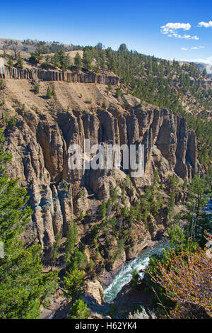 Calcite springs area of the Yellowstone National Park, Wyoming, USA - Stock Photo