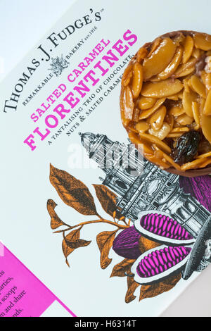 Thomas J Fudge's Salted Caramel Florentines a tantalising trio of chocolate, nuts & salted caramel - florentine - Stock Photo