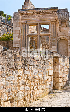 The old ruined castle is the famous landmark of Les Baux-de-Provence, France. - Stock Photo