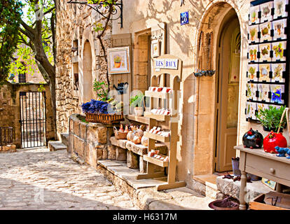 The souvenir shop in one of the most picturesque villages and famous tourist centre - Stock Photo