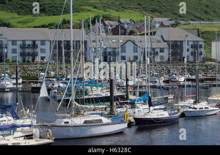 View overlooking the boats at Aberystwyth Harbour / Marina facing towards Y Lanfa, Trefechen. - Stock Photo