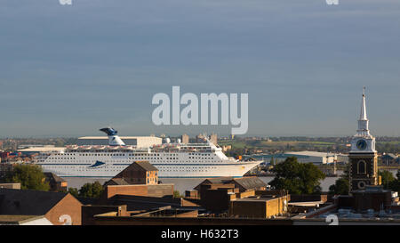 Cruise ship Magellan seen at Tilbury from a high vantage point in Gravesend - Stock Photo
