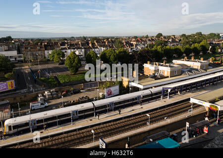Gravesend Railway Station pictured from above - Stock Photo