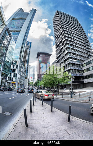 FRANKFURT AM MAIN, GERMANY - MAY 19, 2016: futuristic view of the Grosse Gallusstrasse  street. Commerzbank, Japan - Stock Photo