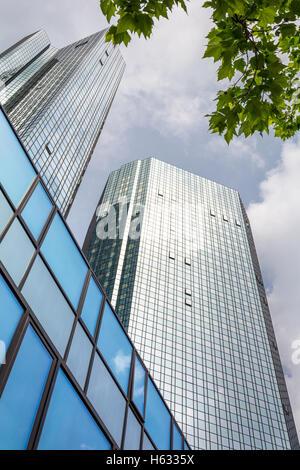 FRANKFURT AM MAIN, GERMANY - MAY 20, 2016: Skyscrapers of Frankfurt am Main. Frankfurt am Main is a dynamic and - Stock Photo