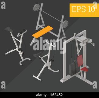 gym equipment isometric vector illustration - Stock Photo