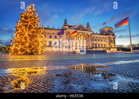 Reichstag and christmas tree in Berlin - Stock Photo