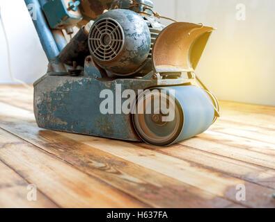 home renovation, parquet sanding, polishing - Stock Photo