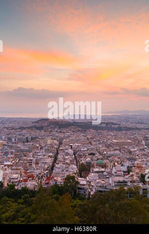 View of Athens from Lycabettus Hill, Greece. - Stock Photo