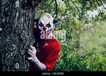 closeup of a scary evil clown in the woods, emerging from behind of a big tree - Stock Photo