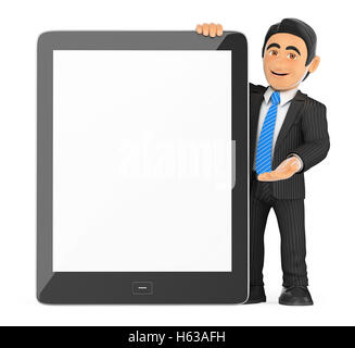 3d business people illustration. Businessman with a huge tablet blank screen. Isolated white background. - Stock Photo