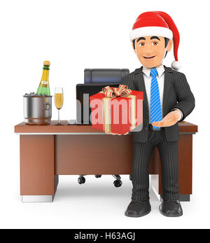 3d business people illustration. Businessman handing a business gift. Isolated white background. - Stock Photo