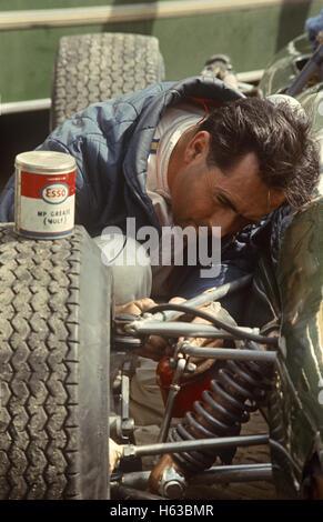 Jack Brabham Working On His Racing Car 1950s 1960s   Stock Photo