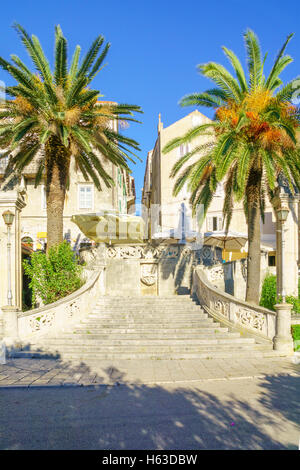 View of the Sea Gate of the old town, in Korcula, Dalmatia, Croatia - Stock Photo
