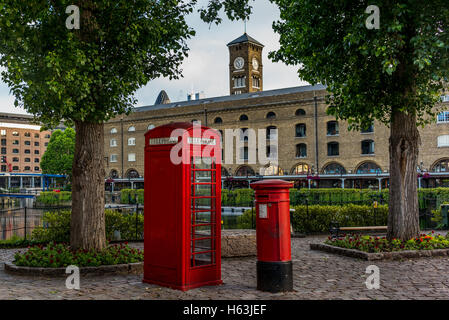 British phone booth in a park in London - 2 - Stock Photo