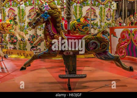 LONDON, UNITED KINGDOM - SEPTEMBER 16, 2016: Vintage Carousel in London at night on The Queen's Walk - 1 - Stock Photo