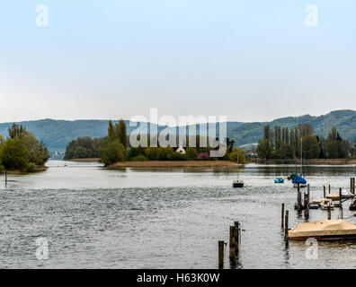 View of a small island in the middle of the Rhein - 1 - Stock Photo
