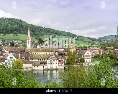Picturesque skyline of the village of Stein am Rhein - 1 - Stock Photo
